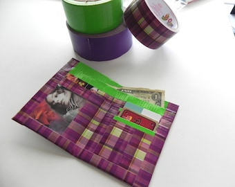 Plaid Duct-Tape Wallet, Purple & Green