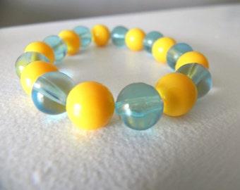 Yellow & Blue Beaded Bracelet, Elastic