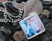 Personalized Soldered Glass Photo Charm with Hand Stamped Name