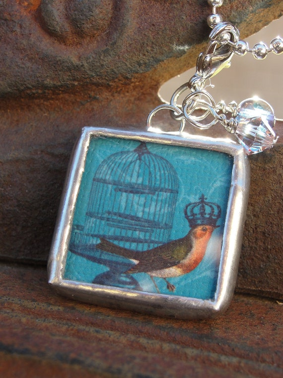 Crowned Bird Reversible Soldered Charm Necklace