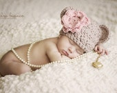 Crochet Newborn Baby Girl Bear Beanie Photo Prop