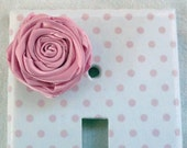 Switchplate - handmade polka dot light switch cover with cute pink flower
