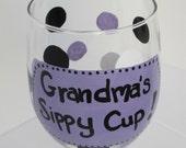 Grandma's Sippy Cup - Purple - Wine Glass
