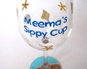BEACH THEME - Sippy Cup - Wine glass - 12oz.