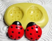 LADYBUG MOLD Duo Flexible Silicone Push Mold for Fimo PMC Metal Clay Resin Wax Fondant Ice