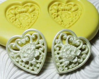 FILIGREE Flower HEART Mold Flexible Silicone Rubber Push Mold for Fimo PMC Resin Wax Fondant Clay Ice 1625