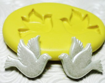 DOVE Mold BIRD DUO Mould Flexible Silicone Push Mold for Resin Wax Fondant Clay Fimo Ice 5226