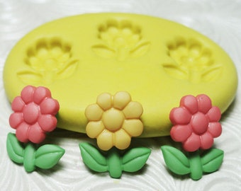 SUNNY FLOWER TRIO Flexible Silicone Rubber Push Mold for Resin Wax Fondant Clay Ice 1627