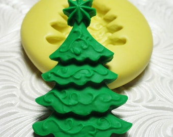 CHRISTMAS TREE Mold Flexible Silicone Rubber Push Mold for Resin Wax Fondant Polymer Clay Ice 376