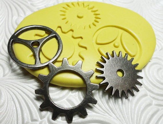 STEAMPUNK Molds GEARS TRIO Flexible Silicone Push Mold for Resin Wax Fondant Clay Fimo Ice 5202