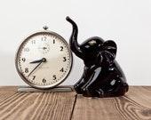 Vintage Black Ceramic Elephant