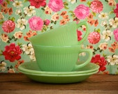Two Sets of Lovely Fire King Jadeite Tea Cups and Saucers