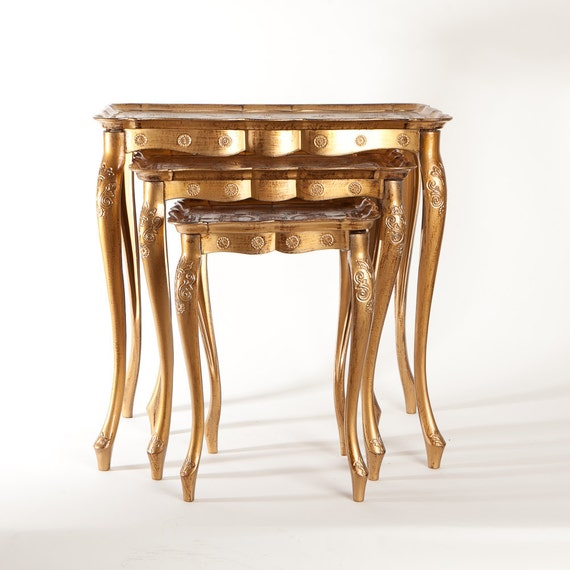 Set of 3 Italian Florentine Gold Toile Nesting Tables