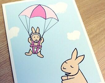 New Baby Girl Card - Baby Shower Card - Bunny Rabbit Greeting Card