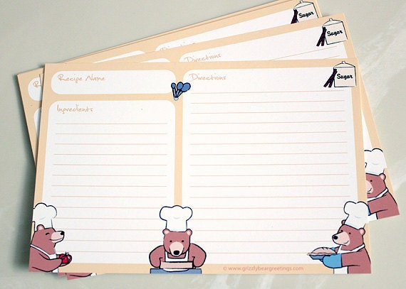 Animal Recipe Cards - Bear & Apple Pie Card Set - 4x6 (Set of 10)
