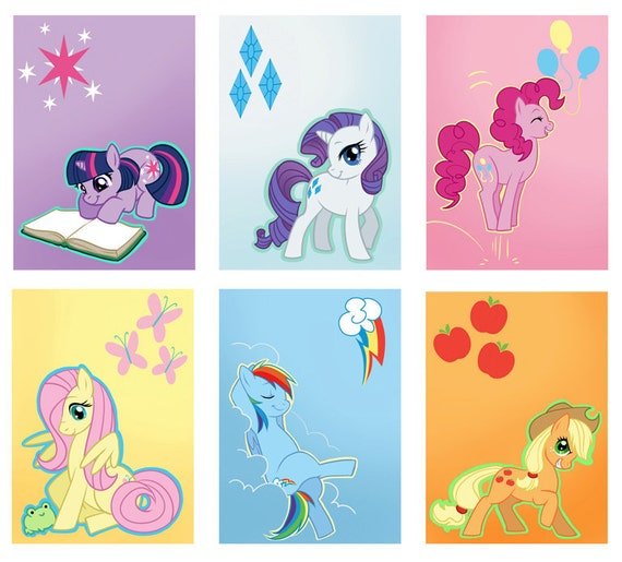 Set of 6 My Little Pony: Friendship is Magic Mini-prints/ACEOs
