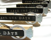 Wedding Save the Date Magnet Clothespins in Black and Silver