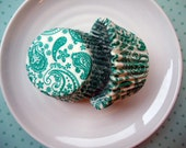 Teal Green Paisley Cupcake Liners - Baking Cups (50) - CLEARANCE SALE