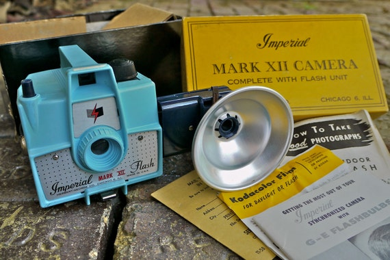Sale: RARE Light Blue Imperial Mark XII Six Twenty with Flash Unit with Free 620 Film, Vintage Camera in Original Box with Instructions