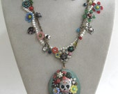 FRIDA's GARDEN - Gorgeous, delicate signed Los Muertos sugar skull folk art-to-wear locket OOAK