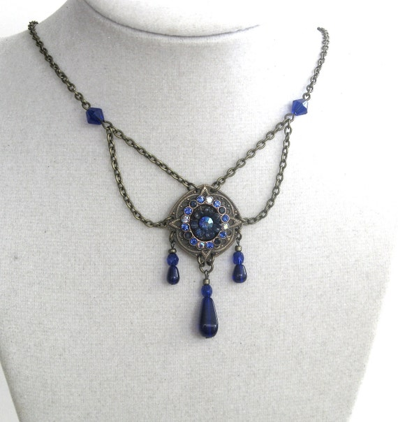 Renaissance - Aurora's Star in COBALT Blue - Exclusive SIGNED vintage brass and Swarovski necklace
