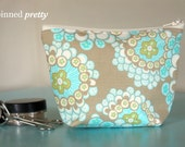 Small Makeup and Cosmetic Bag in Daisy Chain Dandelion Field Grey by Amy Butler