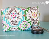 Large Makeup and Cosmetic Bag in Turquoise Songbird