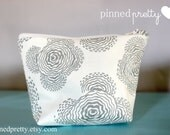 Small Makeup and Cosmetic Bag in Amy Butler Floating Buds Grey