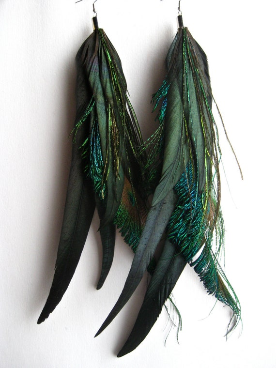 All PEACOCK, long, massive, full of feather earring