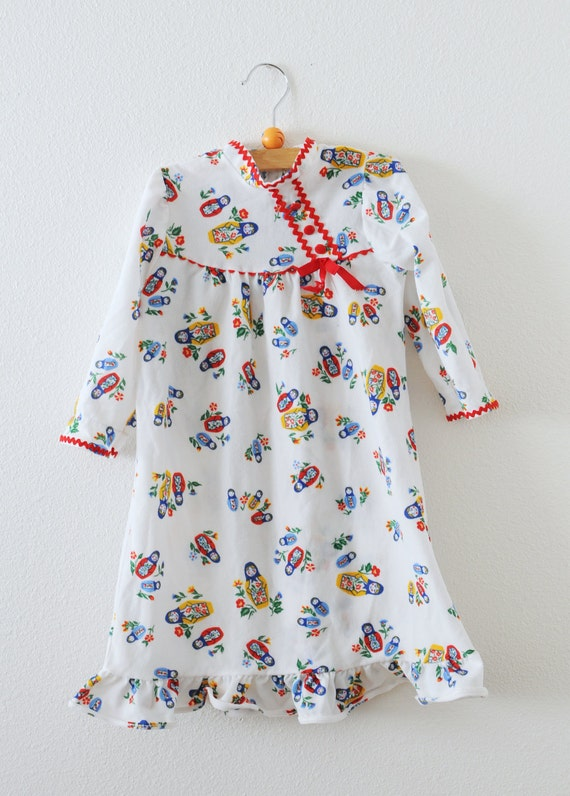 Vintage Matryoshka Doll Ric Rac Pajama Dress (3T)