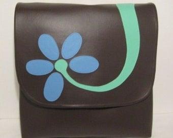 Large Messenger Vinyl Satchel Baby Bag with a Blue Flower on Dark Brown