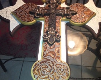 Large wooden wall cross 4d