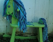 Rocking Horse OOAK Photo Prop Toy lime green blue vintage Hobby Horse Oringinal Design strong and fully functional Ready TO SHIP
