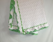 Baby Blanket Crochet New Baby Gift Soft Baby Afghan Green White Snuggly READY TO SHIP