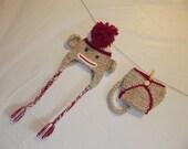 Baby Hat Crochet Sock Monkey Photo Prop Diaper Cover Newborn set OOAK design and Handmade Made To Order