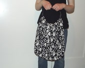 Tote handbag purse black and white slouch hobo large with wooden handles cotton Ready to Ship