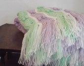 baby blanket mint green Crochet baby afghan  new baby gift beautiful green purple fringe stripes will custom make
