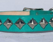 Turquoise Leather Dog Collar with Pyramid Studs