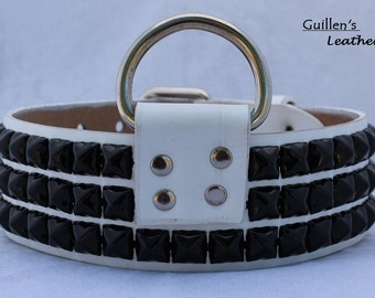 White Leather Dog Collar with Black  Pyramid Studs