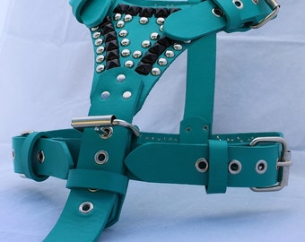 Turquoise Large Leather Dog Harness with Black Pyramids
