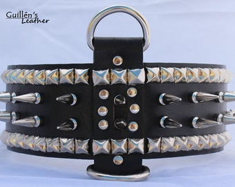 Large Wide Dog Collar with Long Spikes and Pyramids