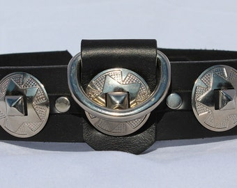 Black Leather Dog Collar with Conchos