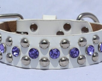 White Leather Dog Collar with Purple Studs