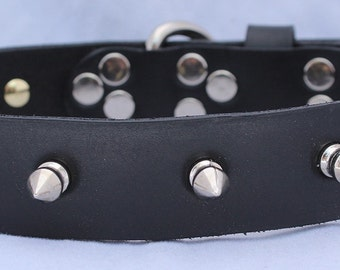 Narrow Black Leather Dog Collar with Spikes