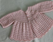 Hand Crocheted Baby Girls Cardigan Jacket to fit Newborn to 3M in custom colour Made to order