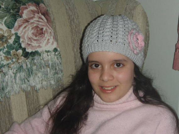 4 to 10yrs Hand Knitted 'Brittany' Girls Hat with Flower Detail in custom colour