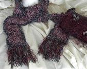 Burgundy and Black Glitter Granny Square Crochet Designer Scarf