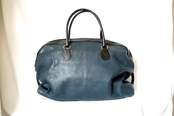 Vintage Big Blue Leather Weekender Duffle Bag / Carry On Luggage