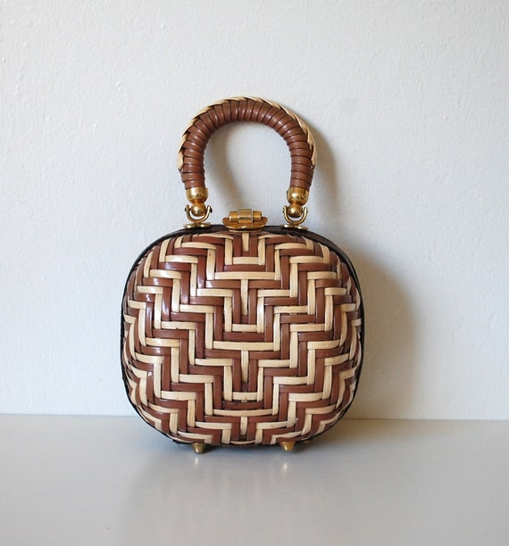 Vintage 60s Gorgeous Woven Wicker LEWIS Handbag