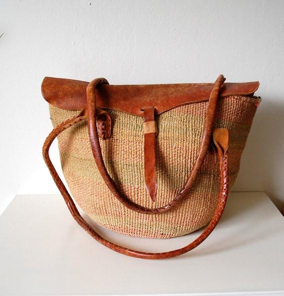 Vintage Big 70s Sisal Woven Basket & Leather Trim Bucket Bag